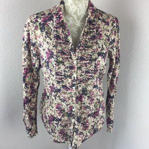 Eddie Bauer Floral Pink Ivory Button Up Shirt M